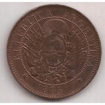 2 Centavos De Patacon Año 1884 Antigua Moneda Excelente