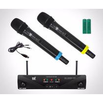 Microfone Duplo Sem Fio Uhf Tsi-ud-1500r-uhf - Frete Barato