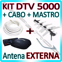 Kit Conversor Digital Aquario + Antena Externa+ Cabo+ Mastro
