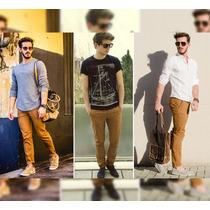 Calça Masculina Caramelo Jeans Sarja Slim Moda Homem C Lycra