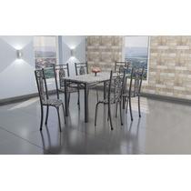 Sala De Jantar Mesa Tampo De Granito 135x70 Cm Com 6 Cadeira
