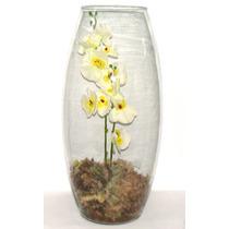 Arranjo De Flores Artificial Vaso Vidro Orquidea Branca G