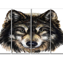 Wolf Head , Animal Canvas Art Print, 48 X28 4-piece