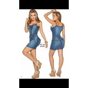 Vestido Corto Tela Jean Moda Sexy