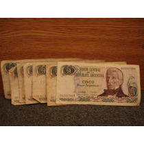 Billetes De Cinco Pesos República Argentina Lote De 7 Bille