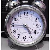 Relógio De Mesa Com Despertador Quartz / Portátil - Cromado