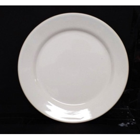 Kit 5 Prato Branco Refeições Raso 25,5cm Ceramica