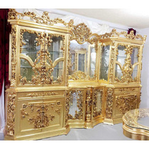 Cristaleira Espelhada Luxuosa Folheada Ouro Madeira Entalha