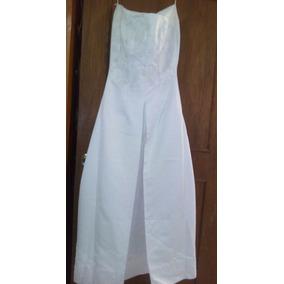 Vestido De Novia Ajuar Completo Strapless Raso Swarovski T34