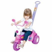 Triciclo Velotrol Infantil Rosa De Empurrar Com Som Cotiplas