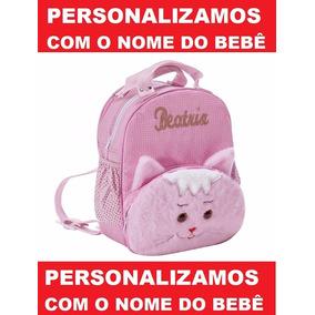 Mochila Infantil Personalizada Gatinha Menina - Bebê - G