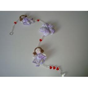 Móbile Infantil Cordão Miçangas Bonecas Tecido Estampado 07