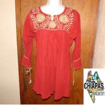 Hermosas Blusas De Chiapas Bordadas A Mano / Rojas/ Unitalla