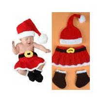 Traje Santa Clous Navidad Tejido A Crochet Para Niña