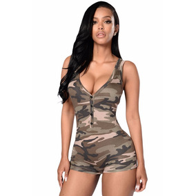 Sexy Pantiblusa Bodysuit Camuflaje Militar Sin Mangas