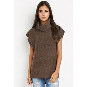 Moda Otoño: Suéter Túnica Cafe Cuello Alto Forever 21 M