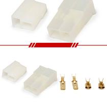 Kit Conectores Macho Fêmea Branco Com Terminais 2 Vias Som