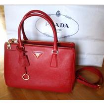 Bolsa Prada Saffiano Original Em Couro Vermelha Frete Gratis