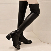 Botas Negras Largas Leather Over The Knee Thigh High Mujer
