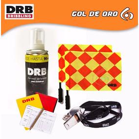 Combo Silbato Tarjetas Banderines Aerosol Arbitro Gol De Oro