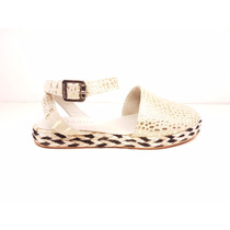 Natacha Zapato Mujer Alpargata Reptil Crema Y Dorado #1442