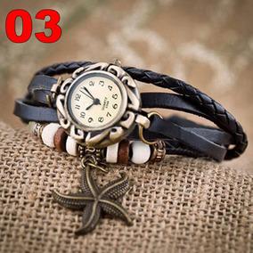 Relógio Pulseira Couro Estrela Mar Feminina Preto