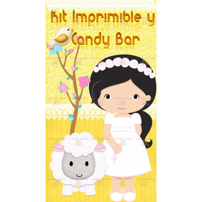 Kit Imprimible Candy Bar Primera Comunión Nena Amarillo!!!!