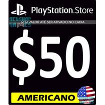 Psn Card $50 Dólar Usd Americano - Cartão Código Ps3 Ps4