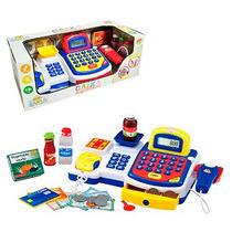 Caixa Máquina Registradora Infantil Acessórios Som Luz Azul