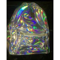 Mochila Unissex Holográfica Prata Dourada