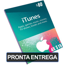 Cartão $60 Dólares Itunes Gift Card Us Imac/ipad (4x $15)