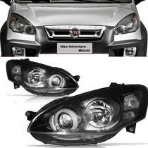Farol Fiat Idea 2010 2011 2012 2013 Máscara Negra L/direito