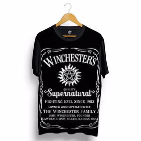 Camisa Supernatural Dean Sam Tipo Jack Daniels Blusa Preta
