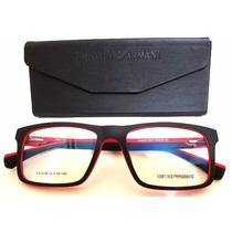 Armação Óculos De Grau Ea3034 Masculino Preto E Vermelho