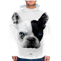 Blusão Cachorro Bulldog Francês Branco E Preto Olhos Azuis