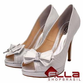 Peep Toe Sapato Para Noivas Prata Salto Alto Lindo