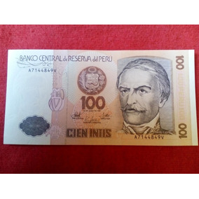 Billete Peruano Antiguo De Coleccion 100 Intis Mdisk