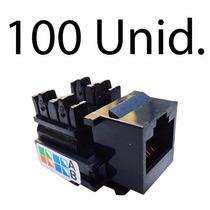 100pçs Conector Rede Femea Rj45 Cat5e Preto Tomada 8 Via