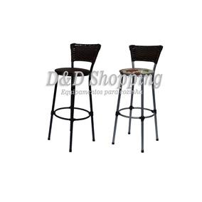 2 Bancos/banquetas/cadeiras Alta Com Encosto De Junco