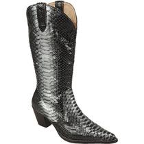 Bota Country Feminina Texana Exótica Lady Silver 100% Em Cou