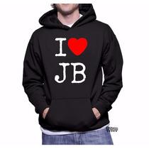 Blusa Moletom Love Justin Bieber Capuz Bolso