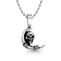 Collar Bling Jewelry C/dije De Calavera Y Luna D/metal 20 In