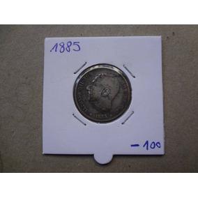 España Moneda De Plata 1 Peseta Año 1885