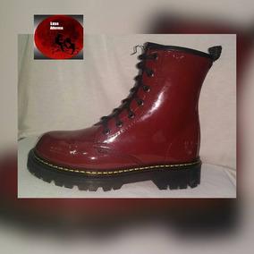 Botas Dark Charol Rojo, Tipo Dr Martens, Luna Alterna Shop