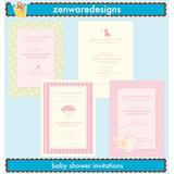 Kit Digital Scrapbook 25 Convites Cha De Bebe - Menina