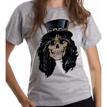 Baby Look Cinza Mescla Caveira Slash Guns N Roses Rock 385