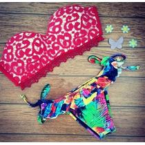 Bellisimo Bikini Floral/rojo Sml Corte Brasileño Push Up..