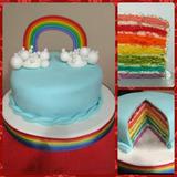 Torta Arcoíris Rainbow Cake Pastelería Bautismos Cumpleaños