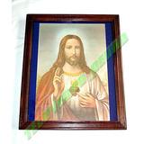 Hermoso Cuadro Imagen Del Sagrado Corazon De Jesus Enmarcado