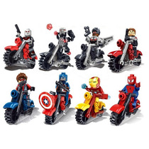 Set Civil War Iron Man De 8 Motocicletas Compatible Con Lego